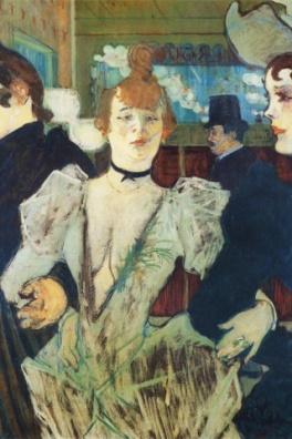 Toulouse-Lautrec che ritrae La Goulue quando arrivà al bal du Moulin Rouge